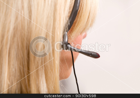 Receptionist Headset Detail stock photo, A detail of a receptionist with a headset by Tyler Olson