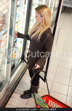 Product Comparison stock photo, Woman in a supermarket standing in front of the freezer looking for her favorite frozen food by Tyler Olson