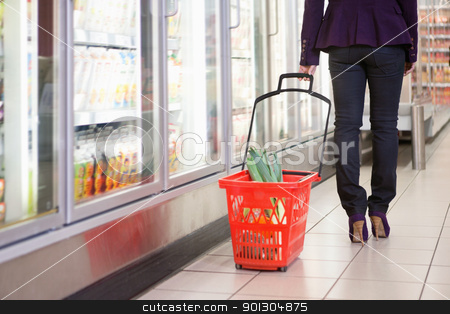 Woman with Shopping Basket stock photo, Low section of woman walking with basket near refrigerator in shopping centre by Tyler Olson