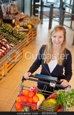 Portrait of woman holding shopping cart stock photo, Smiling woman looking at camera while holding shopping cart in store by Tyler Olson