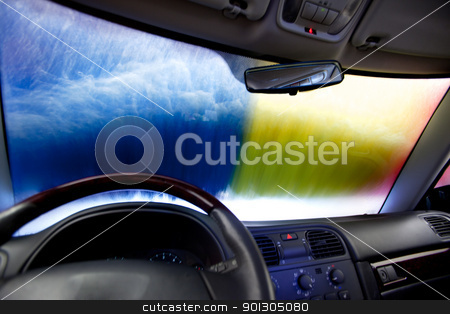 Car Wash Abstract stock photo, Interior of a car in an automatic car wash by Tyler Olson