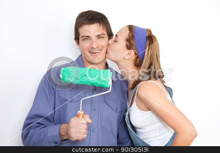 Painting Couple stock photo, Portrait of young wife kissing his husband by Tyler Olson