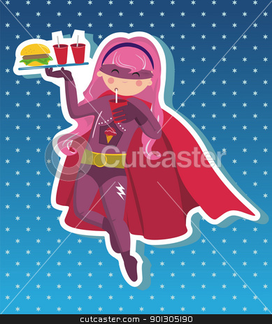 Fast food superhero girl cartoon. stock photo,  Superhero girl flying with tray in your hand with fast food on blue background with little stars. Vector available. by Cienpies Design