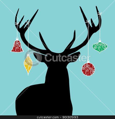 Christmas reindeer silhouette stock photo, Christmas reindeer silhouette with decorations hanged from its antlers. by Cienpies Design