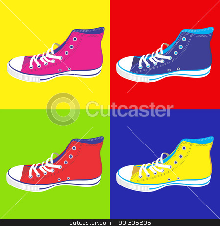 Teenager sneakers background stock photo, Colorful teen sneakers on differentes colors background. Vector available by Cienpies Design
