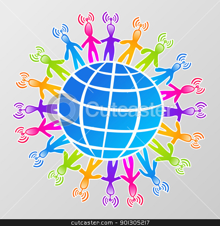 Global social media network stock photo, Social media network connection world concept by Cienpies Design
