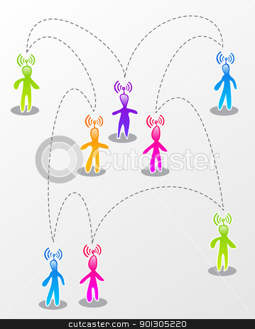 Speech social media interaction stock photo, Interactive multicolored abstract social people connected illustration. by Cienpies Design