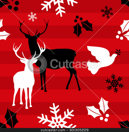 Christmas reindeer pattern background stock photo, Christmas elements and reindeers over red striped pattern background .Vector illustration by Cienpies Design