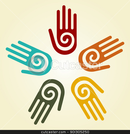 Hand with spiral symbol in a circle  stock photo, Hand with a spiral symbol on the palm, on a circle of hands background. Vector available. by Cienpies Design