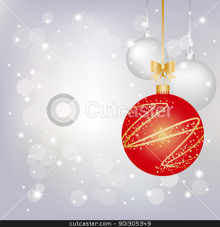 Christmas greeting card stock vector clipart, Christmas greeting card on sparkling silver background by meikis