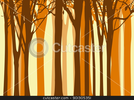 Abstract autumn tree background stock vector clipart, Abstract colorful autumn tree on yellow background by meikis
