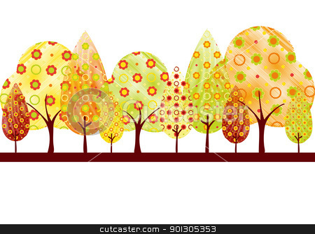 Abstract autumn tree greeting card stock vector clipart, Abstract colorful autumn tree on white green background greeting card by meikis