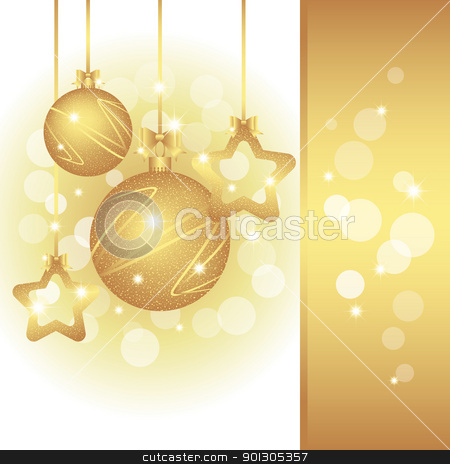 Sparkling Christmas greeting card stock vector clipart, Christmas greeting card on sparkling golden color background by meikis