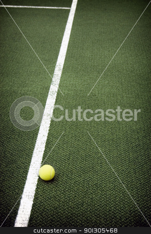 Tennis ball stock photo, Tennis compositon. Yellow ball, lines and court. by johnnychaos