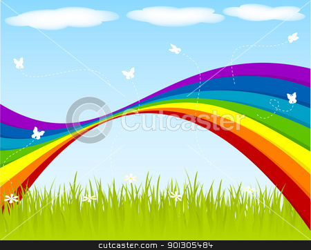 Springtime stock vector clipart, Spring backgraound with rainbow and butterflies. by wingedcats