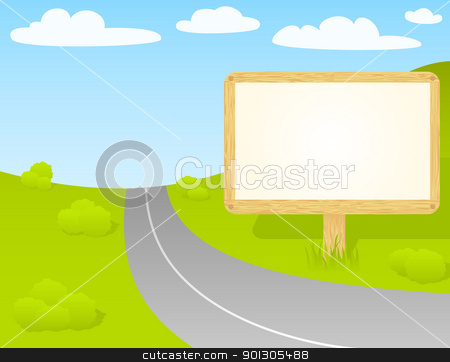 Road sign.  stock vector clipart, Blank wooden billboard to put your message. by wingedcats