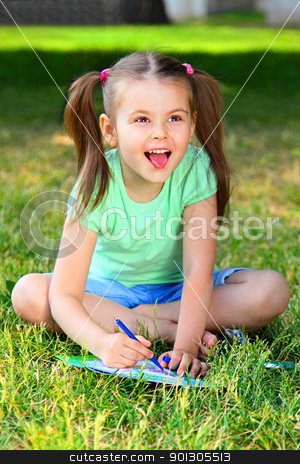 Portrait of the little girl stock photo, Portrait of the small beautiful girl by Artamonov Yury