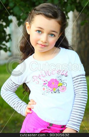 Portrait of the little girl stock photo, Portrait of the small beautiful girl by Artamonov Yury