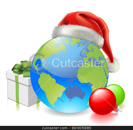 Christmas Globe stock vector clipart, Christmas globe with Santa hat, gift and baubles  by Christos Georghiou