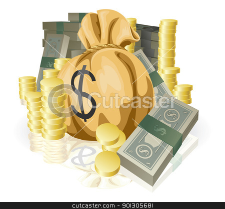 Lots of money stock vector clipart, Piles of money in the form of cash and gold coins, with big money sack. by Christos Georghiou