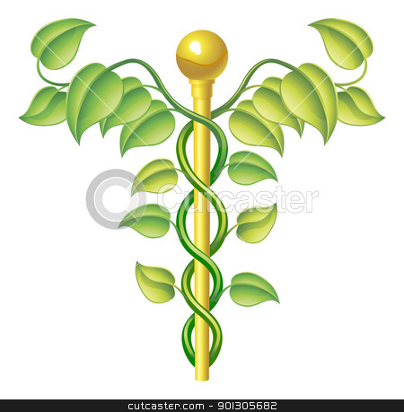Natural caduceus concept stock vector clipart, Natural caduceus concept, can be used for natural or alternative medicine etc. by Christos Georghiou