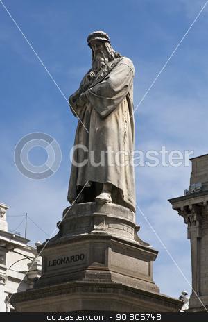 Statue of Leonardo Da Vinci in Milan stock photo, Statue of Leonardo Da Vinci in Milan (Milano), Piazza della Scala, Italy by johnnychaos