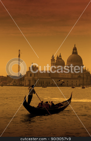 Gondolier in Venice, Italy stock photo, Gondolier at the dusk in Venice, Italy by johnnychaos