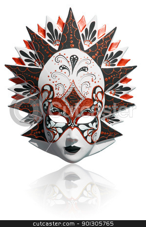 Venetian carnival mask isolated stock photo, Gold traditional venetian carnival mask isolated on white. Venice, Italy. by johnnychaos