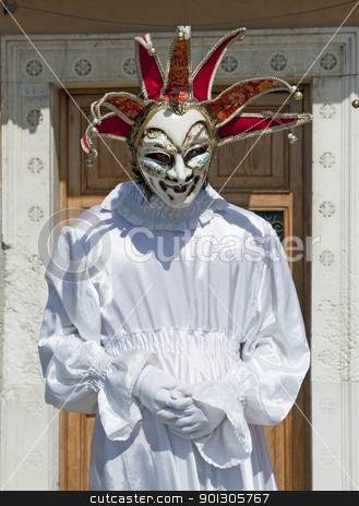 VENICE, ITALY - APRIL 10, 2011, Men in costume. stock photo, VENICE, ITALY - APRIL 10, 2011, unidentified masked person in traditional venetian costume. by johnnychaos