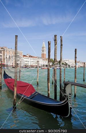 Parked gondolas in Venice, Italy stock photo, Many parked famous gondolas in Venice, Italy by johnnychaos