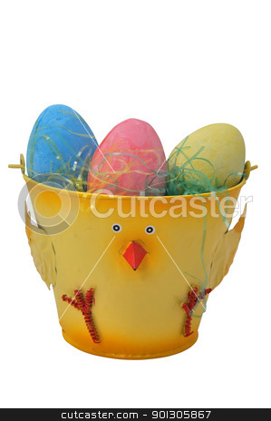 Easter Eggs in Bucket stock photo, Three Easter eggs in bucket isolated on white background with clipping path. by Danny Hooks