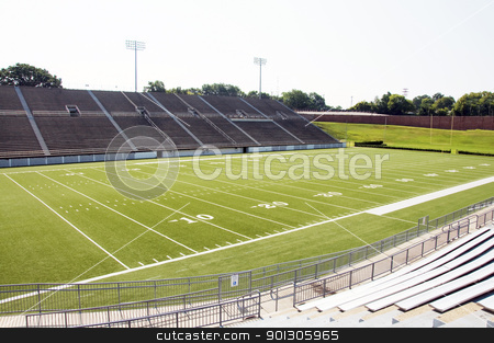 High School Football Stadium stock photo, High school football stadium showing entire field. by Danny Hooks