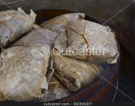 lotus leaf rice stock photo, close up of lotus leaf rice by zkruger