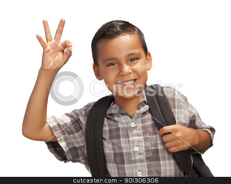 Happy Young Hispanic Boy Ready for School on White stock photo, Happy Young Hispanic Boy Giving an Okay Hand Sign with Backpack Ready for School Isolated on a White Background. by Andy Dean
