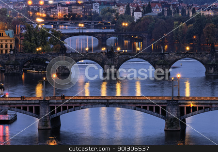 Charles bridge at night stock photo, Charles bridge at night. Prague, Czesh republic.  by vwalakte