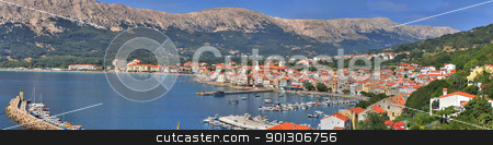 Mediterranean Town of Baska panorama stock photo, Croatian pearl, Baska - located in the island of KRK, with one of the most beautiful beaches in Croatia by xbrchx