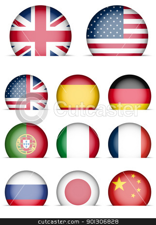Collection of Flags Icons stock vector clipart, Collection of Flags Icons - Language Buttons - English, American English, Spanish, German, Portugal, Italian, French, Japanese, Russian, Chinese by JAMDesign