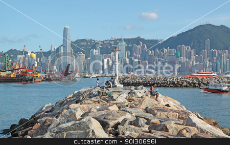stone road to the city stock photo, stone road to the city by Keng po Leung