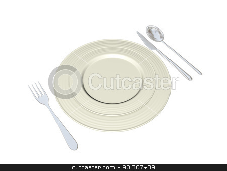 Metal plates with stainless steel spoon fork and knife, 3D illus stock photo, Metal plates with stainless steel spoon fork and knife, 3D illustration, isolated against a white background by Patrick Guenette