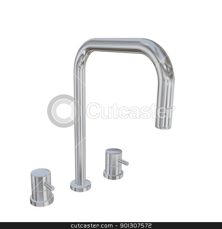 Modern faucet with chrome or stainless steel finishing, 3d illus stock photo, Modern faucet with chrome or stainless steel finishing, 3d illustration, isolated against a white background. Kitchen fixtures. by Patrick Guenette