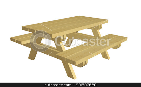 Wooden picnic table, 3d illustration stock photo, Wooden picnic table, 3d illustration, isolated against a white background by Patrick Guenette