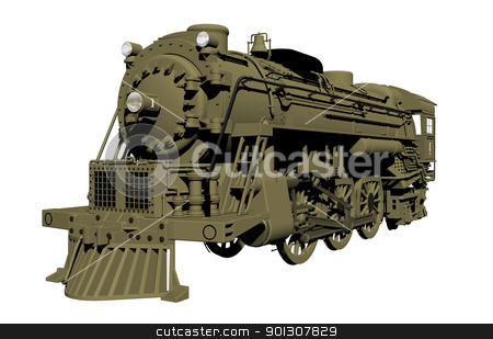 Old steel locomotive isolated on white stock photo, Perspective view of an old steel locomotive or lead train model, isolated against a white background. by Patrick Guenette