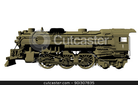 Old steel locomotive isolated on white stock photo, Side view of an old steel locomotive or lead train model, isolated against a white background. by Patrick Guenette
