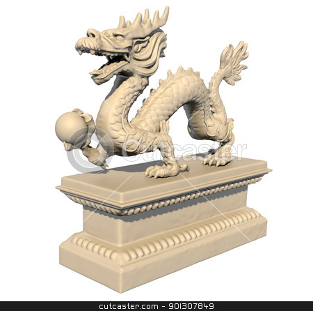 White Chinese dragon statue holding a ball in his claws stock photo, White Chinese dragon statue holding a ball in his claws, isolated against a white background. Perspective view 3D image. by Patrick Guenette