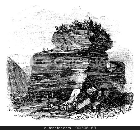 Outdoor Anthracity quarry at Summit Hill, on  Mount Mauch Chunk, stock vector clipart, Outdoor Anthracity quarry at Summit Hill, on  Mount Mauch Chunk, Pensilvania. Vintage engraving. Old engraved illustration of an outdoor anthracite quarry, with worker extracting it. by Patrick Guenette