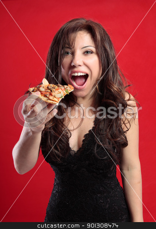 Female eating pizza stock photo, Sexy female eating a slice of delicious pizza by Leah-Anne Thompson