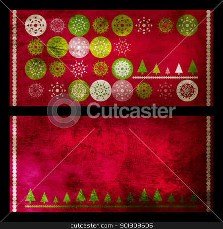 Christmas grunge cards stock photo, set of two red Christmas greeting cards with snowflakes on grunge background by lubavnel