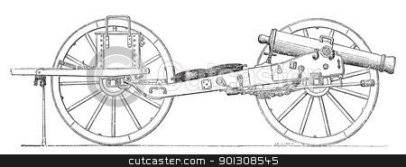 Field gun vintage engraving. stock vector clipart, Field gun vintage engraving. Old engraved illustration of a field gun. by Patrick Guenette