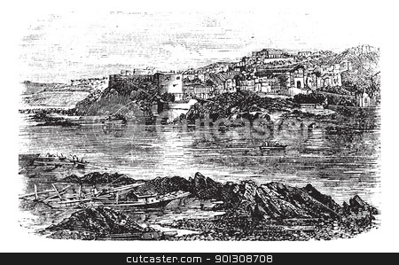 Attock or Campbellpur, Punjab, Pakistan. Vintage engraving. stock vector clipart, Attock or Campbellpur, Punjab, Pakistan. Vintage engraving. Old engraved illustration of Attock city located in the northern border of the Punjab of Pakistan and the headquarters of Attock District. by Patrick Guenette