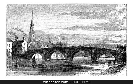 River Ayr Bridges. Old Bridge or Auld Brig over Ayr River, in Sc stock vector clipart, River Ayr Bridges. Old Bridge or Auld Brig over Ayr River, in Scotland, during the 1890s, vintage engraving. Old engraved illustration of the Old Bridge over the Ayr River. by Patrick Guenette
